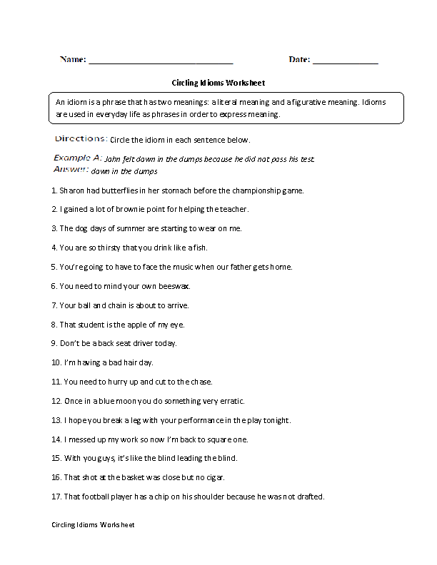 Printable Worksheets worksheets on idioms Englishlinx.com | Idioms Worksheets