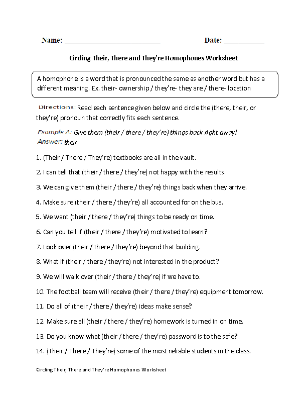 Circling Their,There and They're Homophones Worksheet