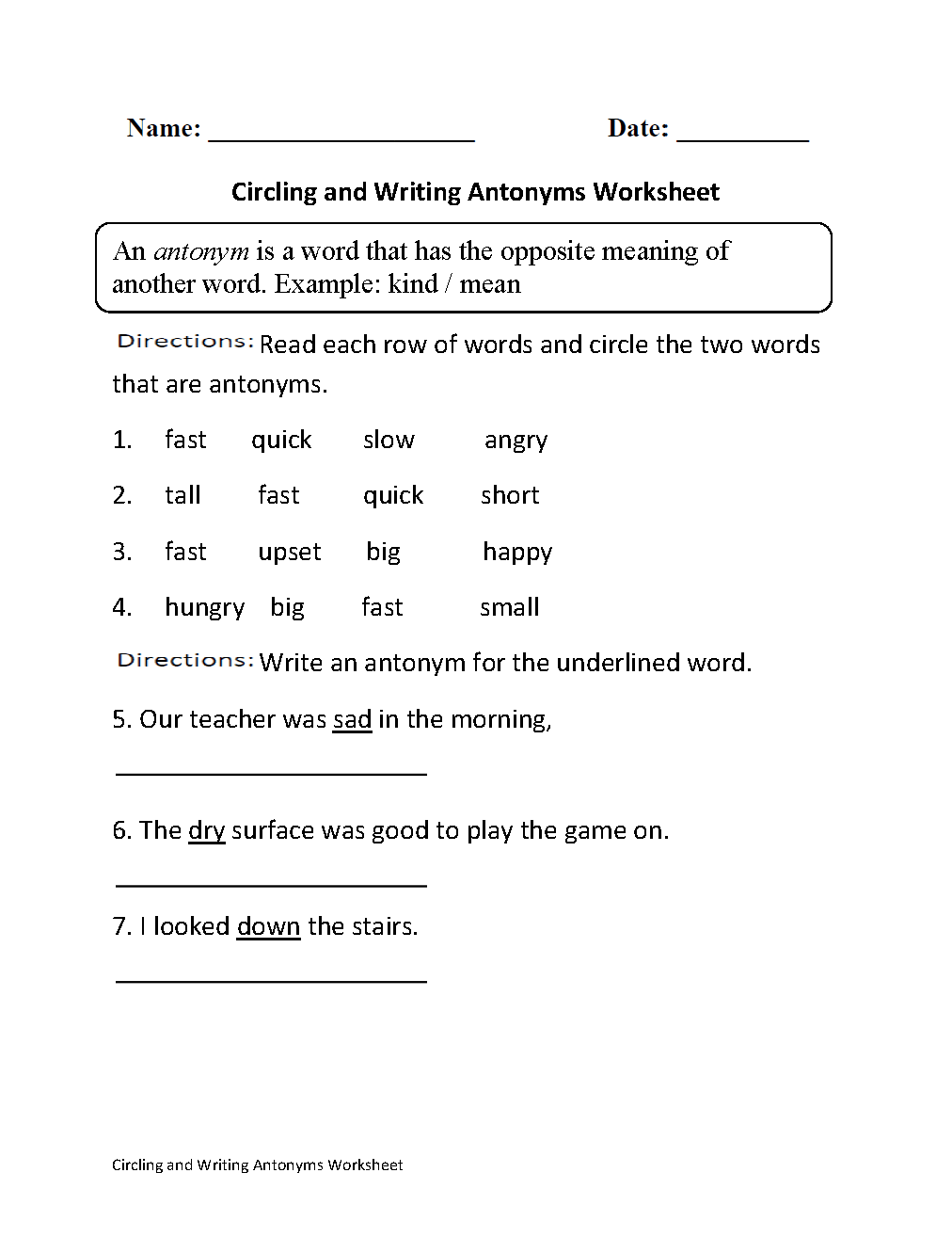 Circling and Writing Antonyms Worksheet