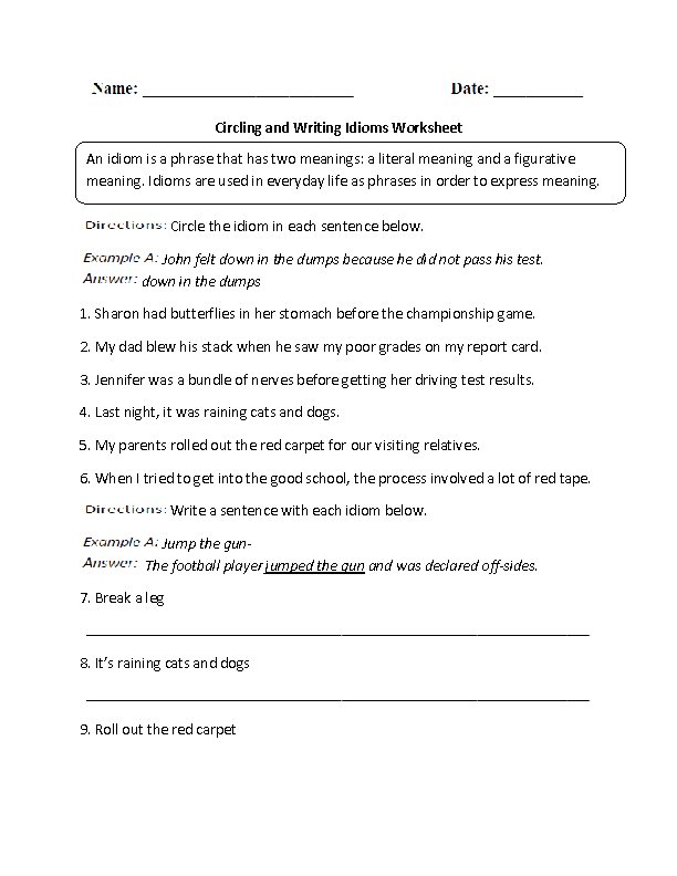 Printables Idiom Worksheets englishlinx com idioms worksheets worksheet