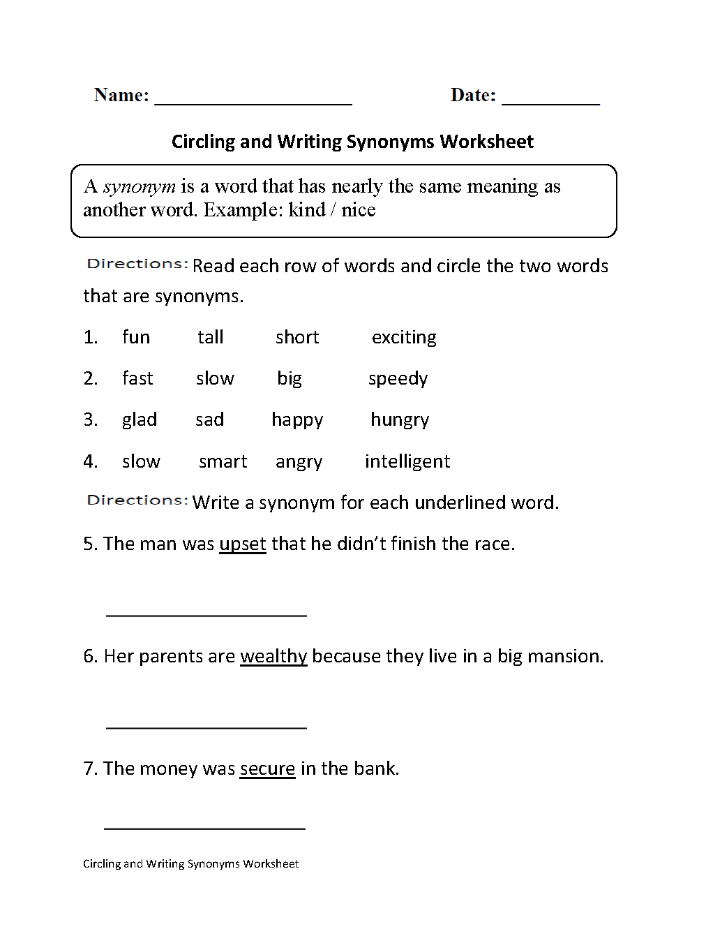 Englishlinx – Synonyms Worksheet