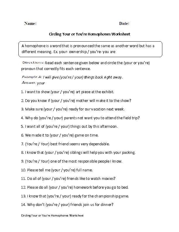 Englishlinx.com | Homophones Worksheets