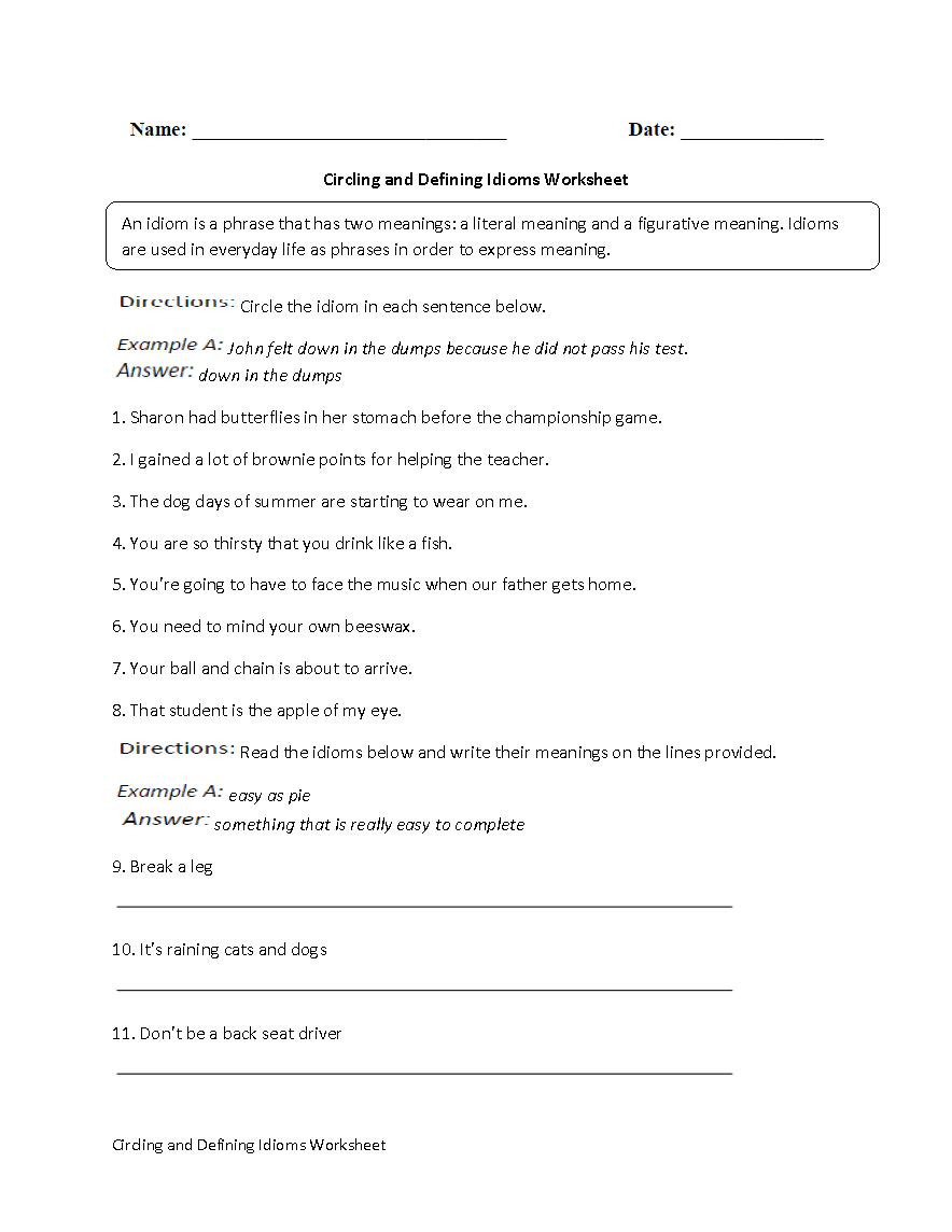 Circling and Defining Idioms Worksheet