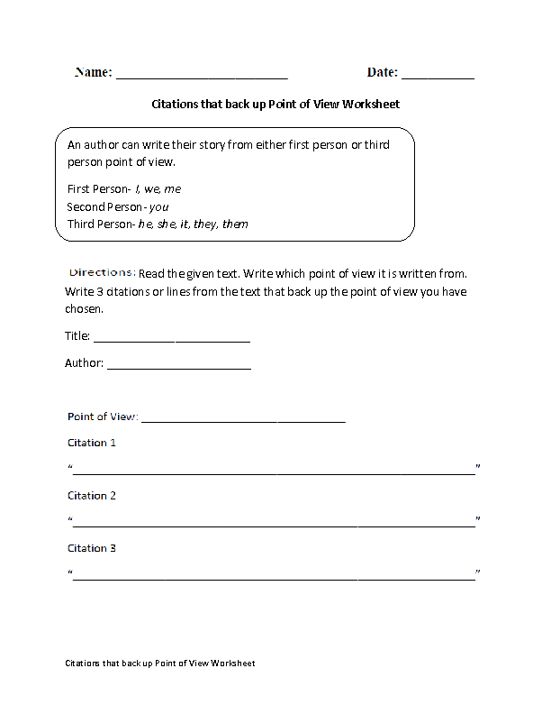 Character Point Of View Worksheets Sharebrowse – Point of View Worksheets
