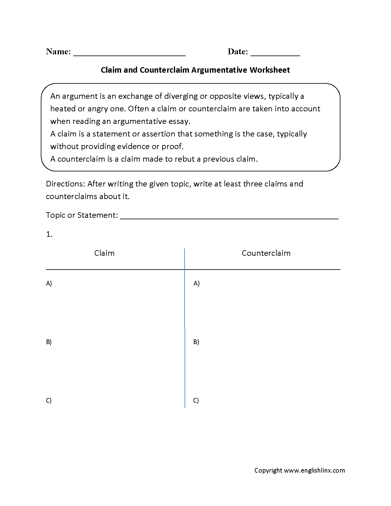 reading worksheets argumentative worksheets claim and counterclaim argumentative worksheets