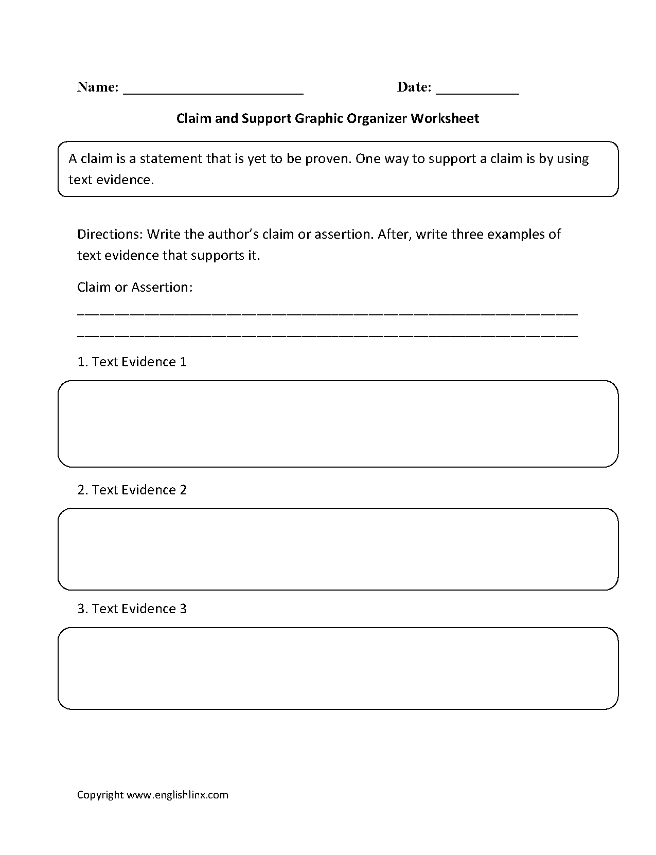 Claim and Support Graphic Organizers Worksheets