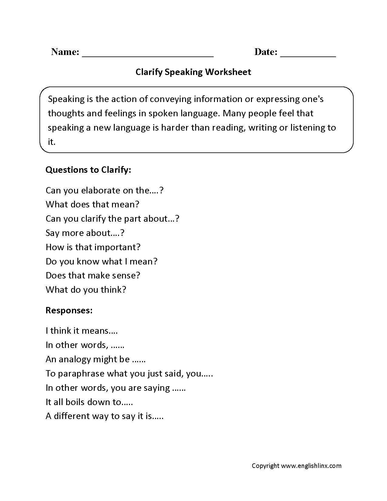 Englishlinx – Analogy Worksheet