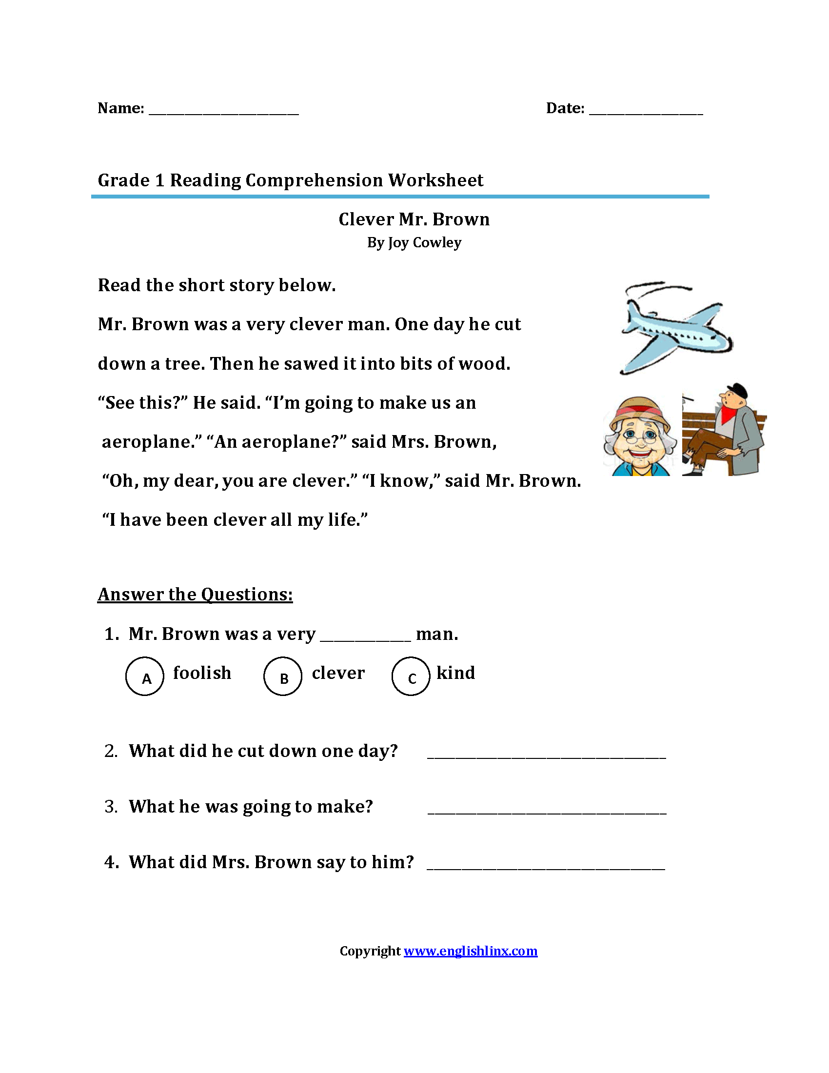 Worksheets Reading Comprehension Worksheets First Grade reading worksheets first grade worksheets