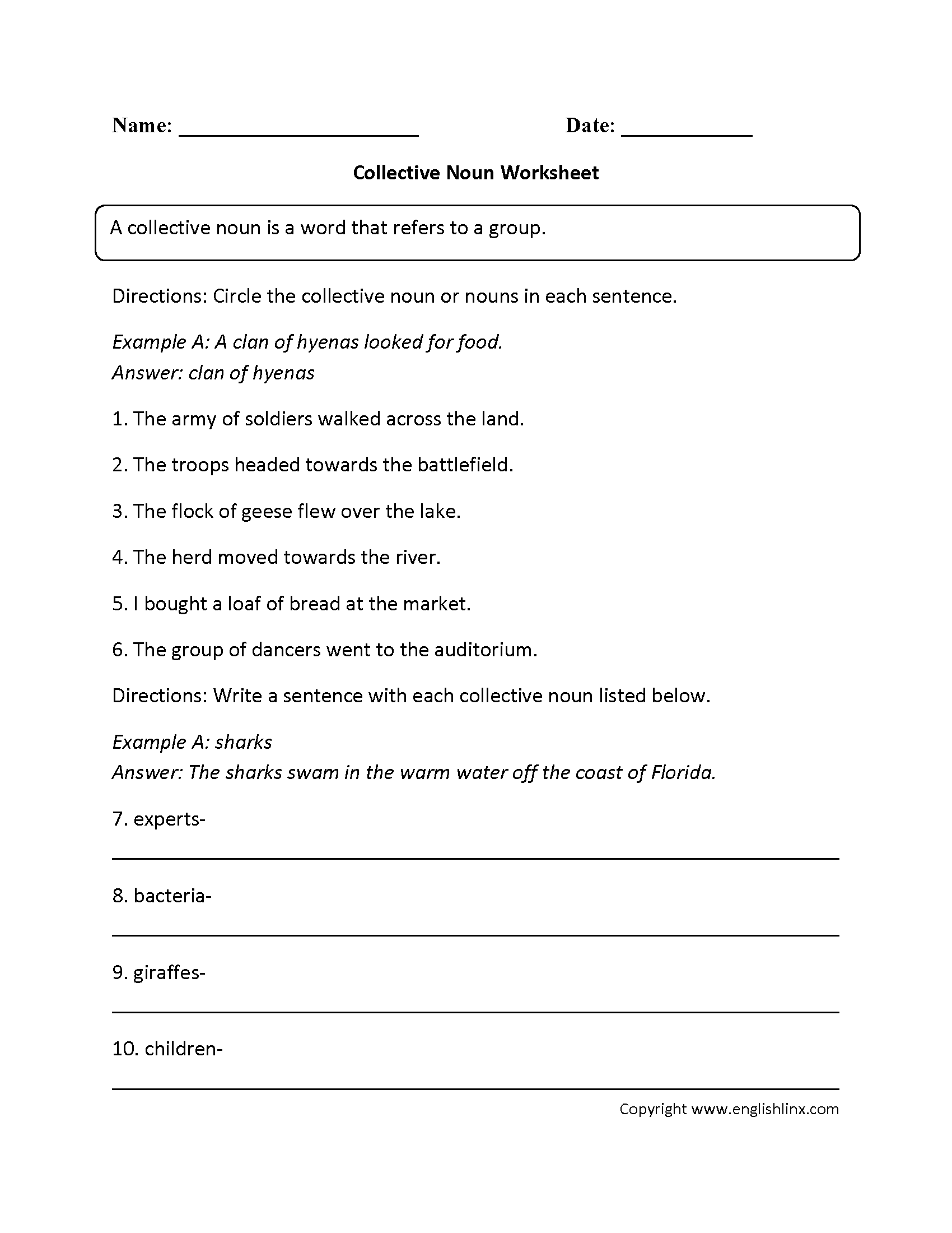 Nouns Worksheets – Collective Nouns Worksheet