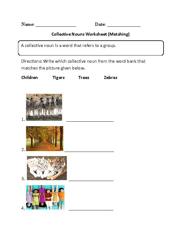Matching Collective Nouns Worksheet