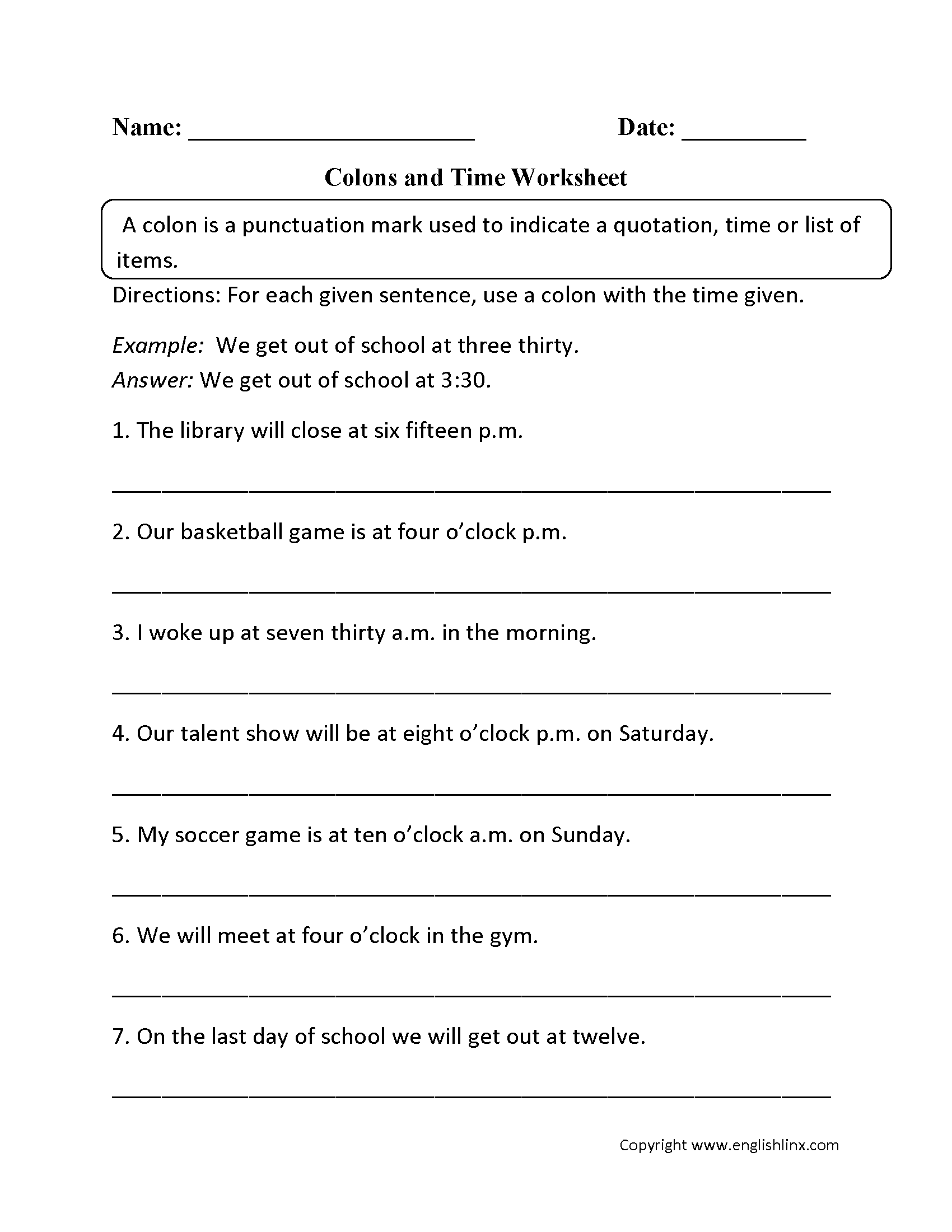 Worksheets Seventh Grade Grammar Worksheets punctuation worksheets colon worksheets