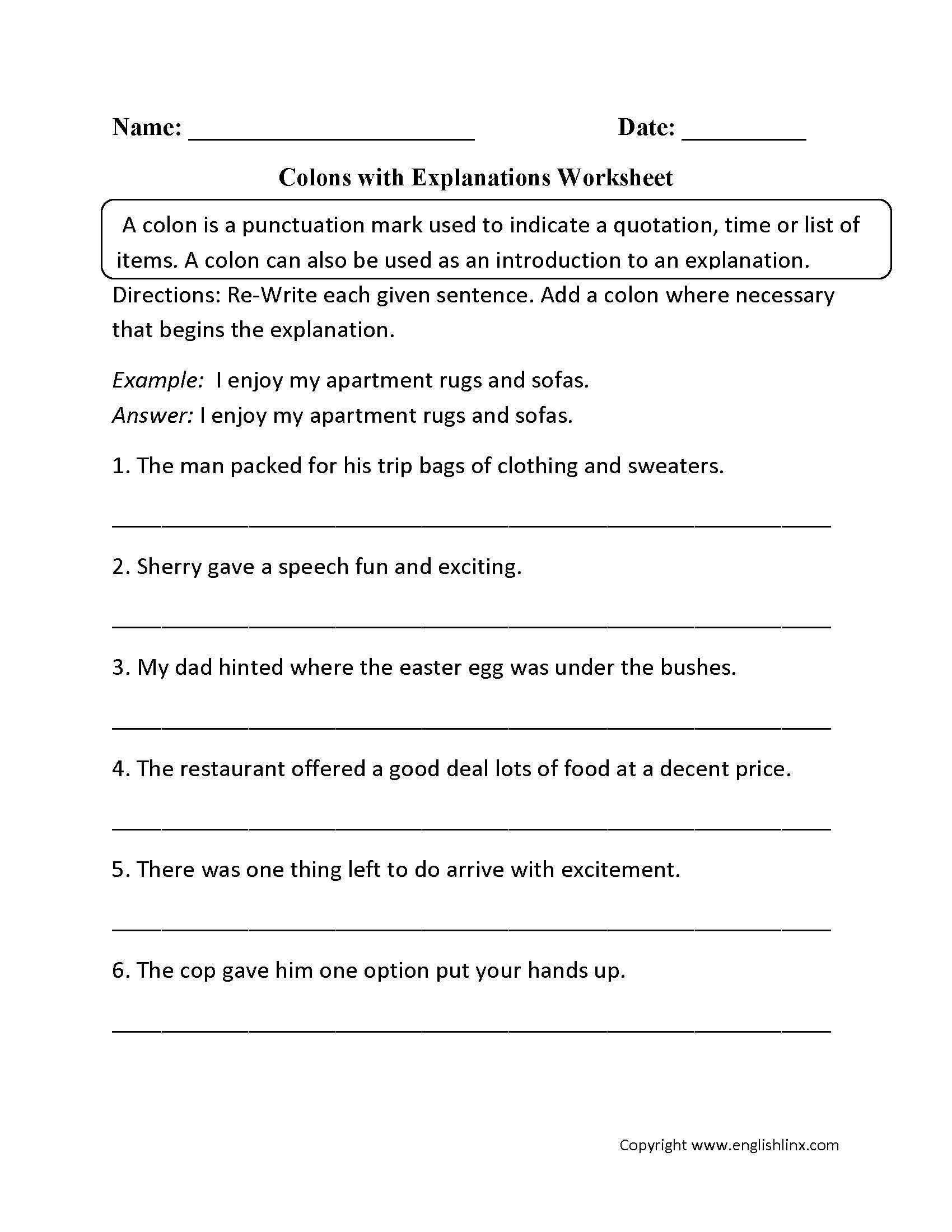 Colon Worksheets