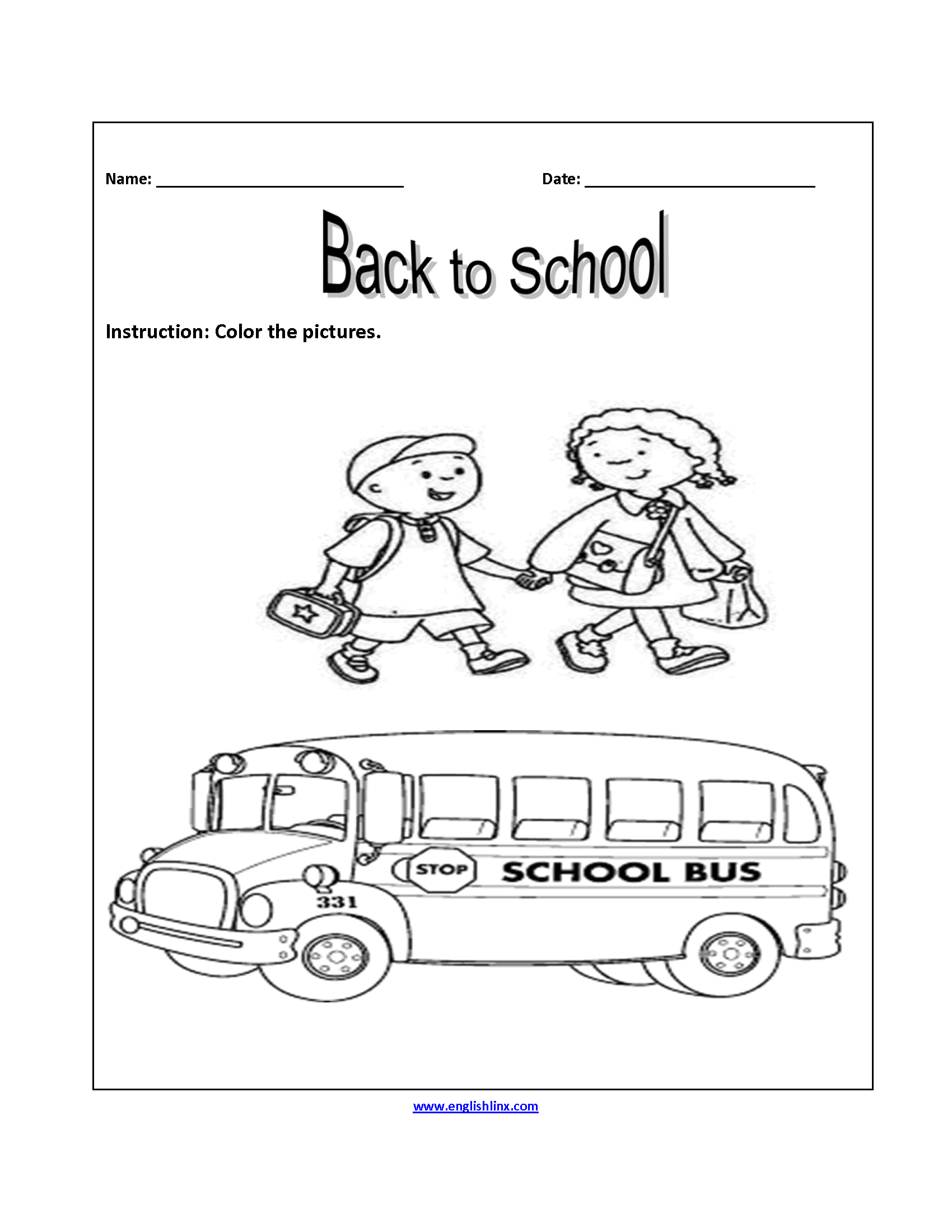 Color the Pictures Back to School Worksheets