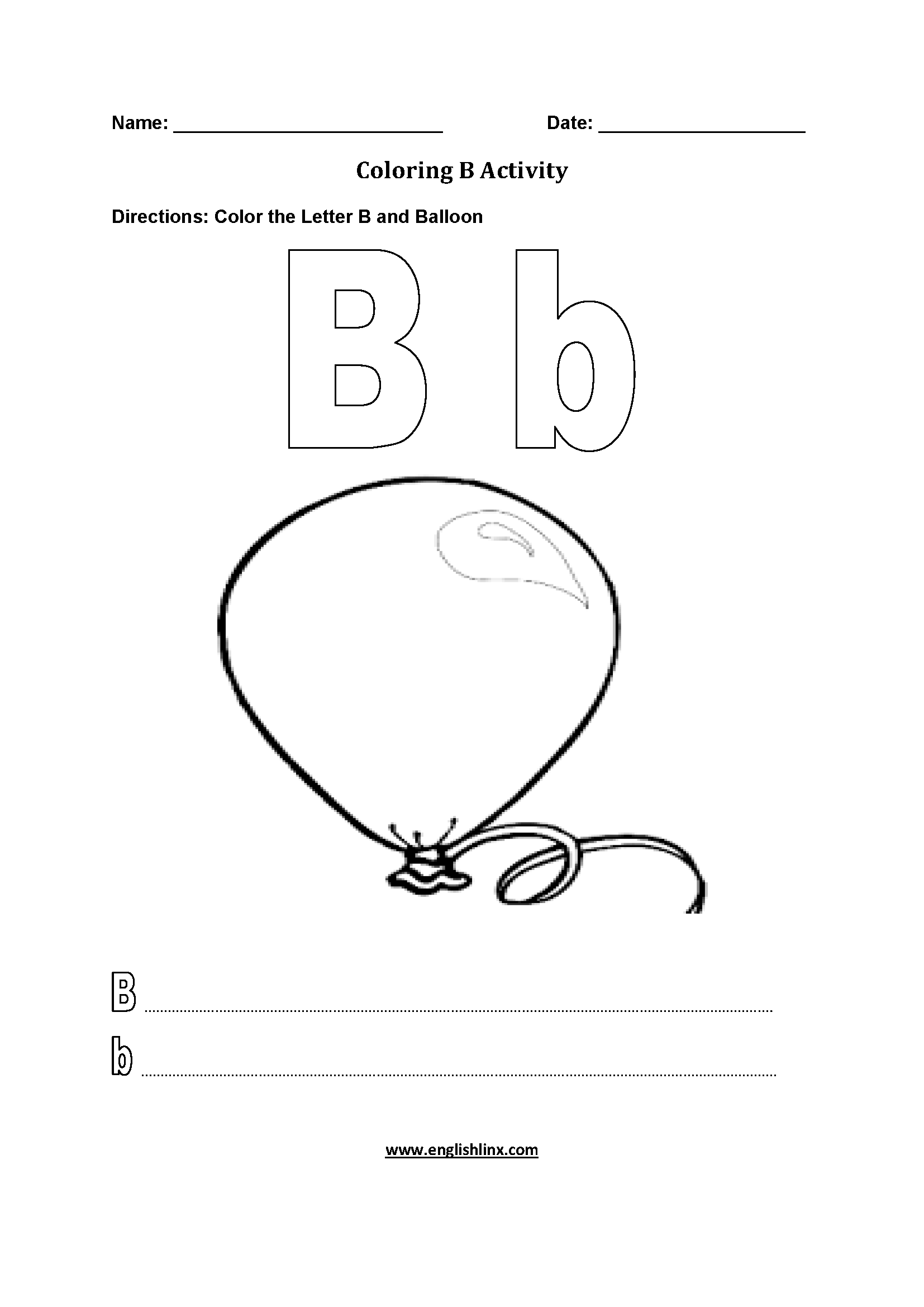Letter B Alphabet Coloring Pages Worksheets