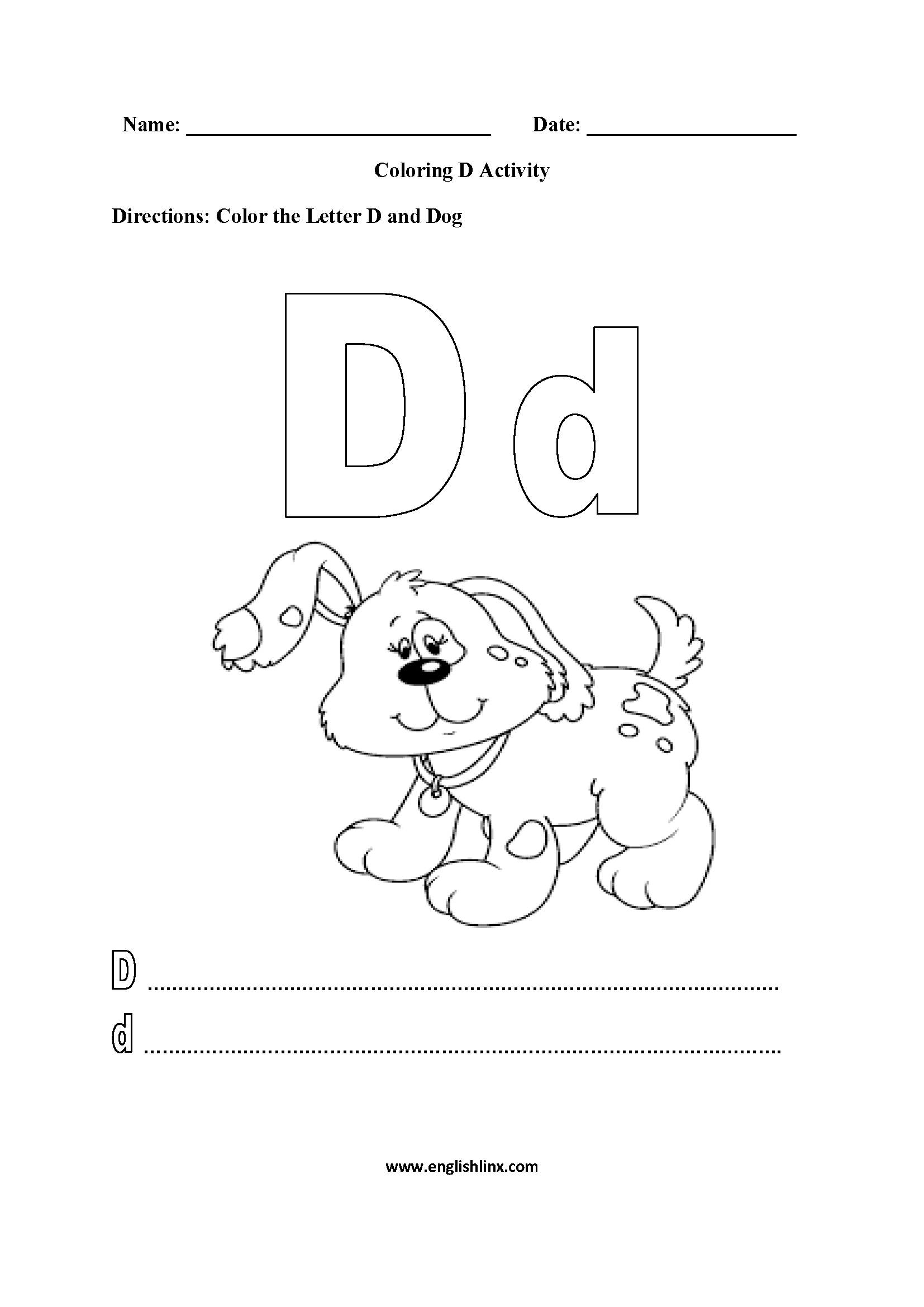 Coloring D Worksheet
