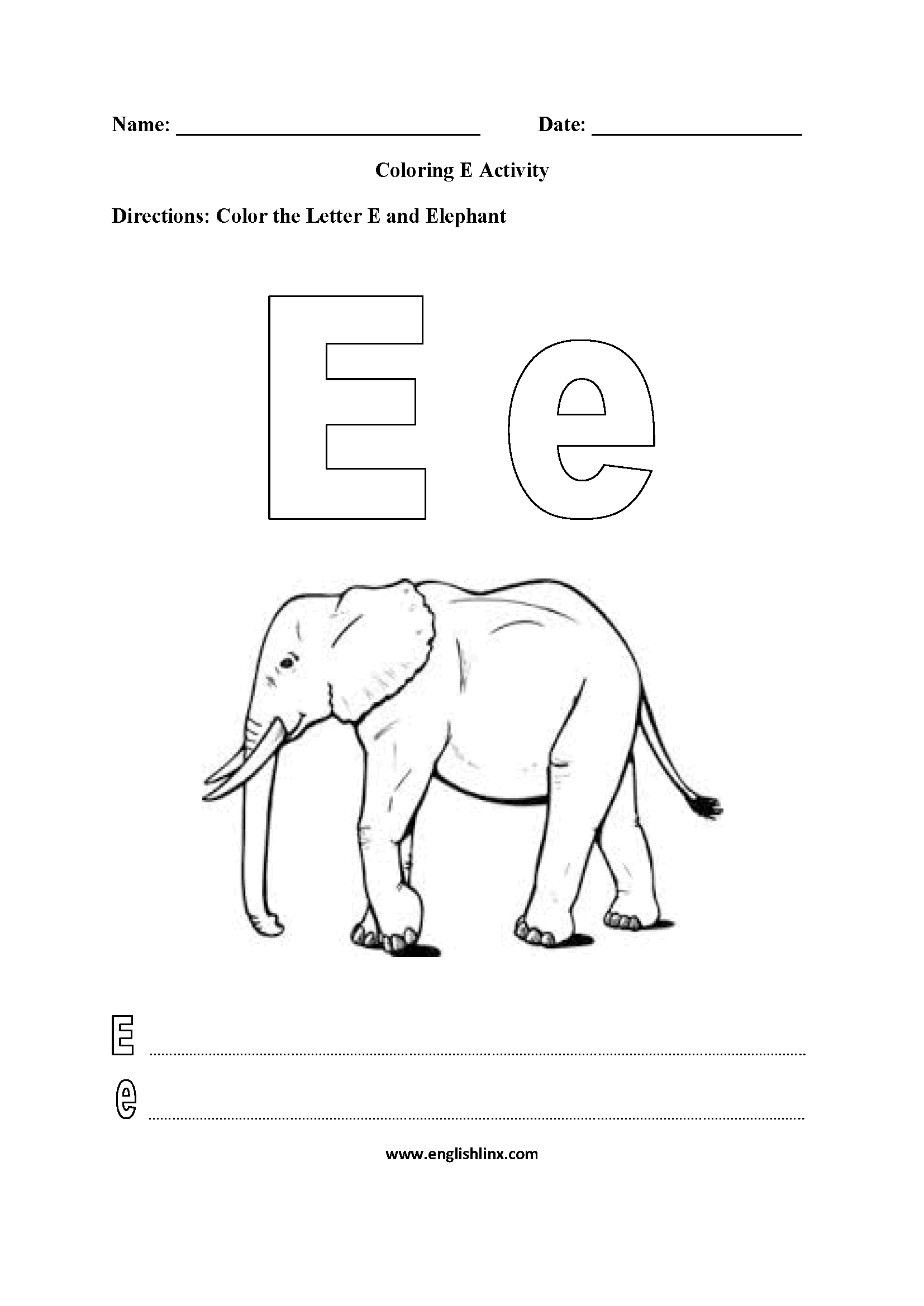 Letter E Alphabet Coloring Pages Worksheets