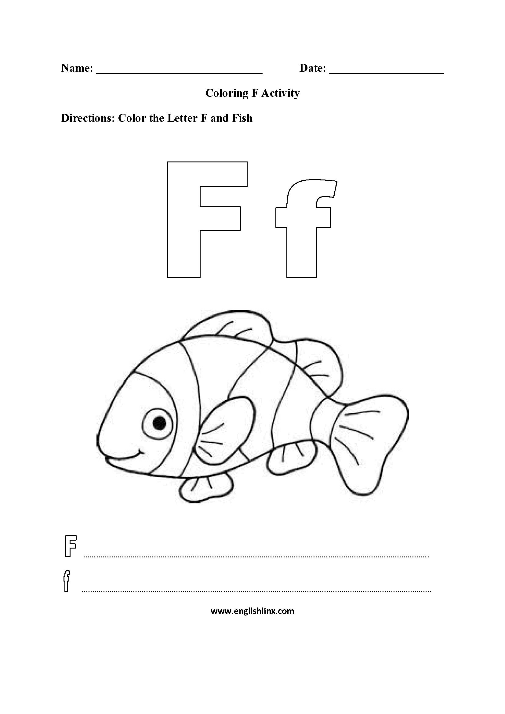 Letter F Alphabet Coloring Pages Worksheets