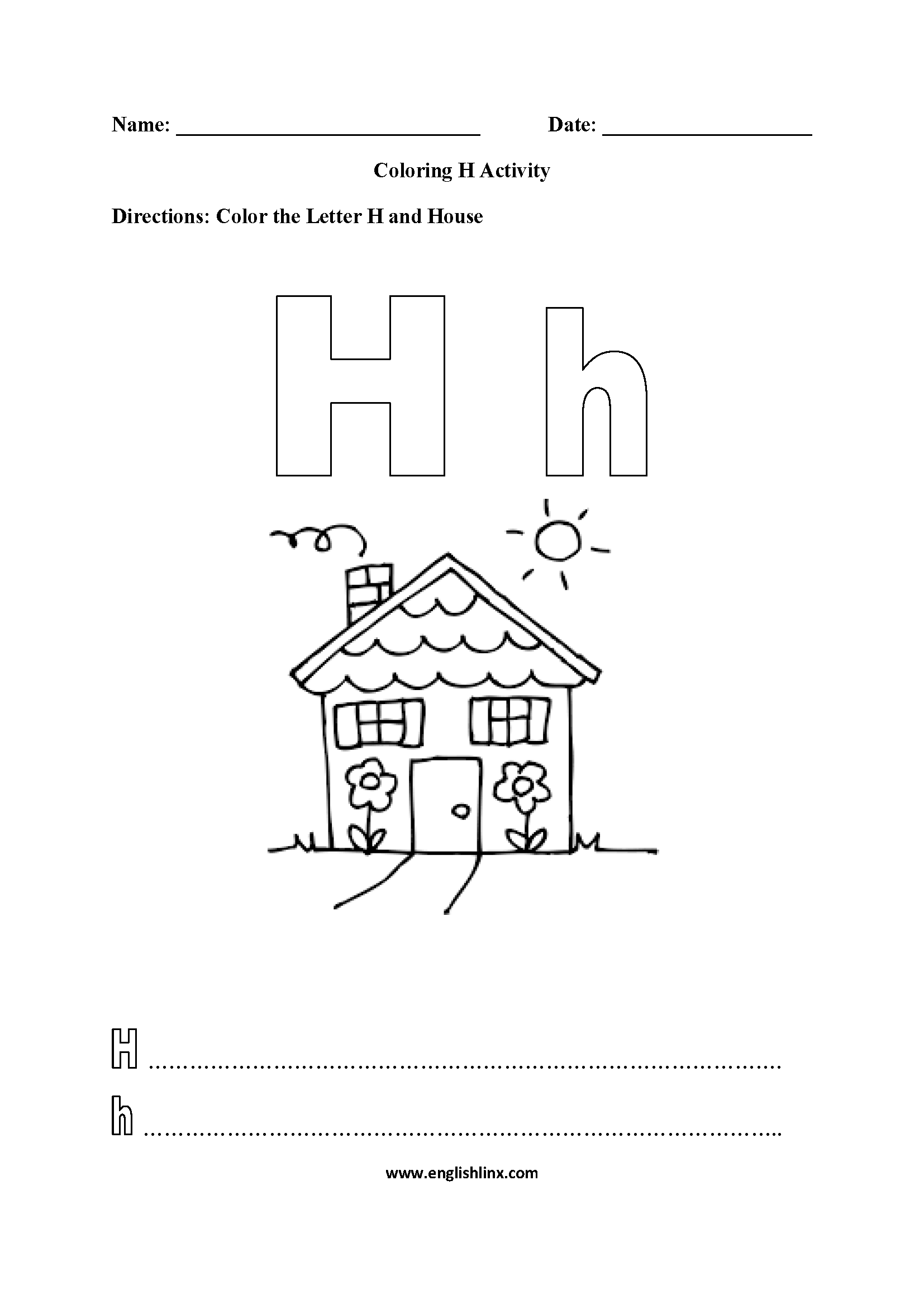 Letter H Alphabet Coloring Pages Worksheets