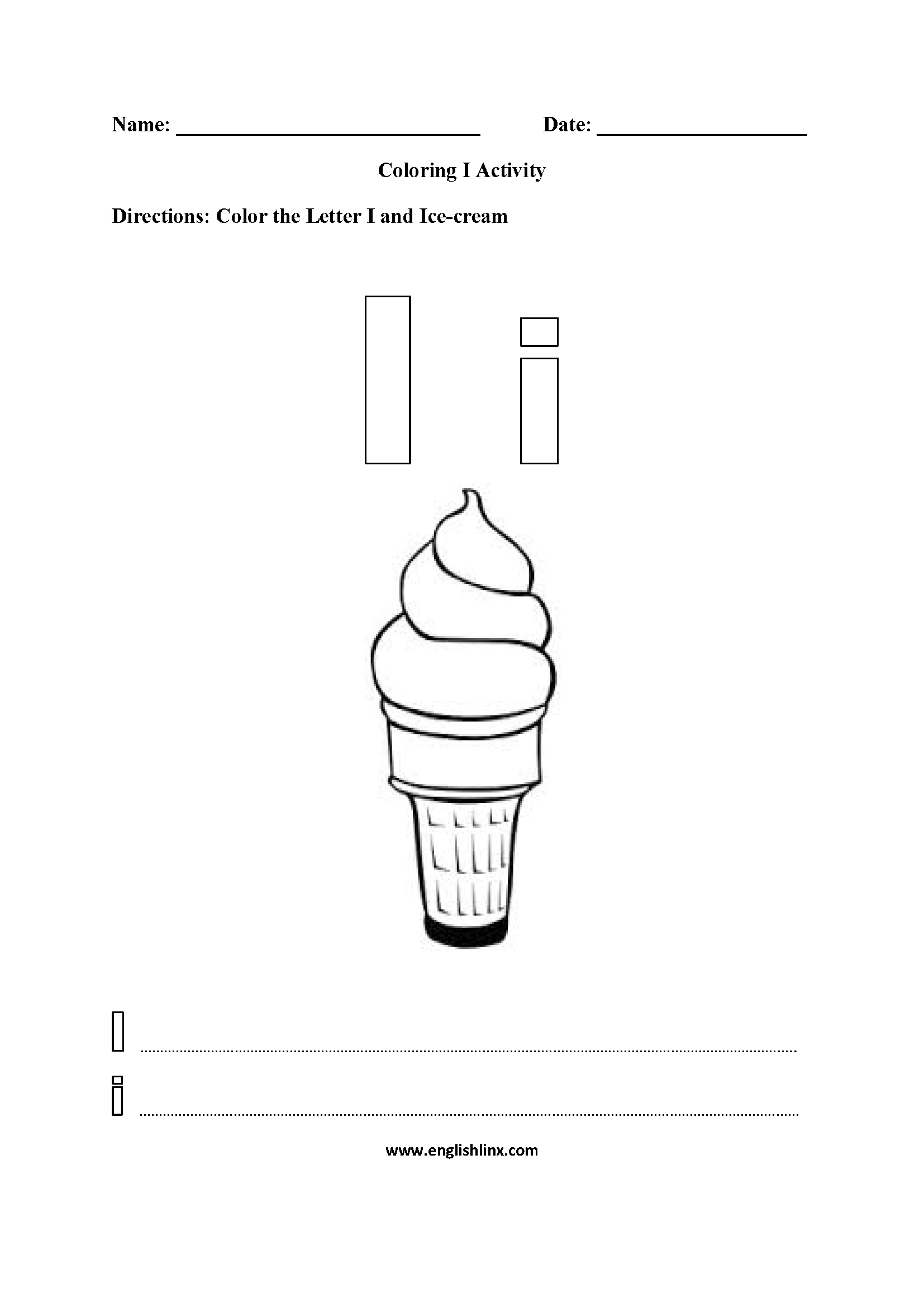 Coloring I Worksheet