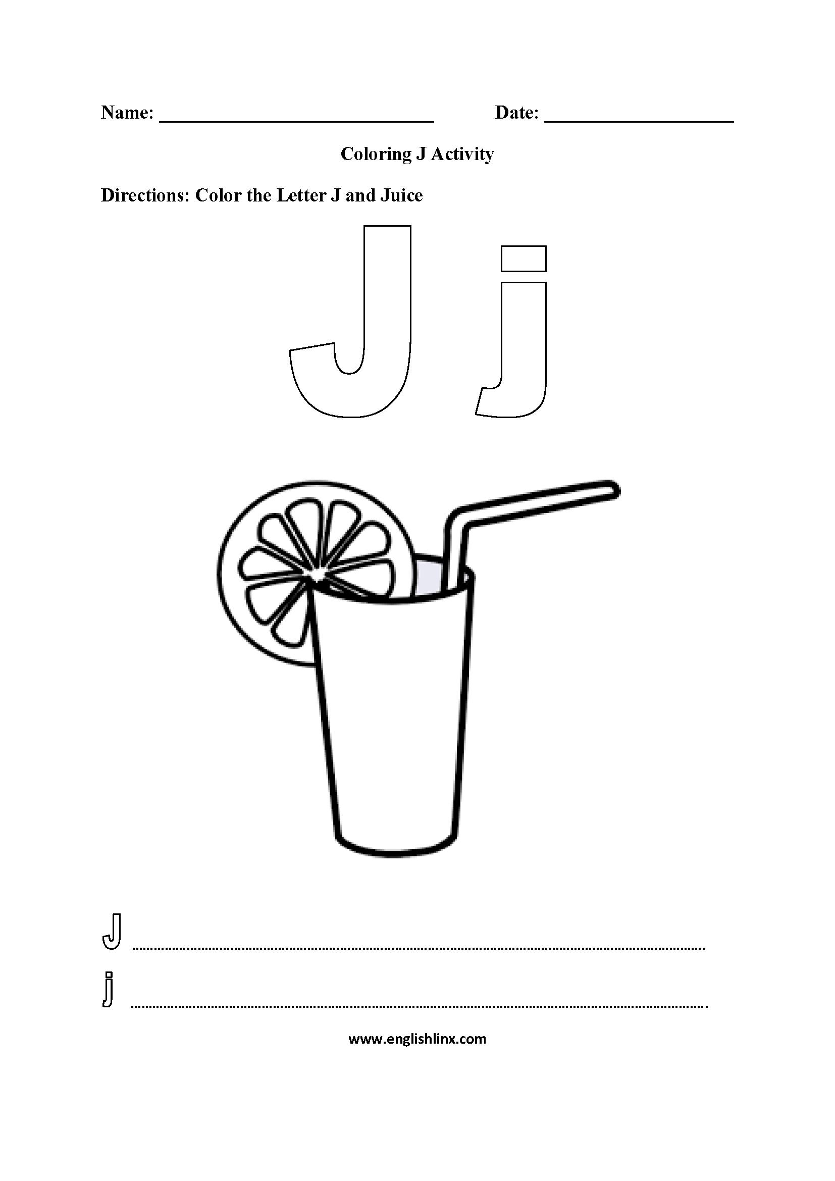 Letter J Alphabet Coloring Pages Worksheets