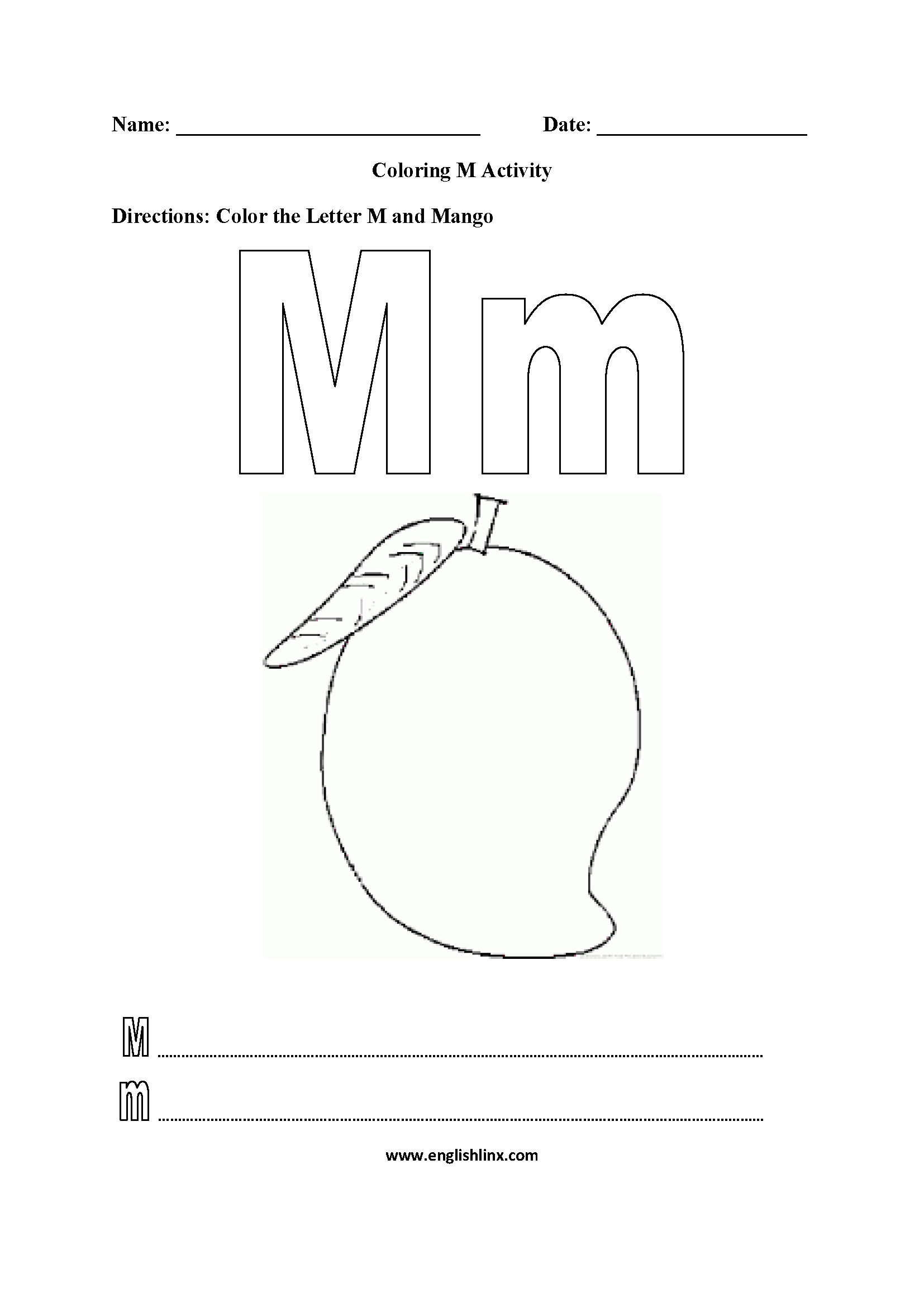 Letter M Alphabet Coloring Pages Worksheets