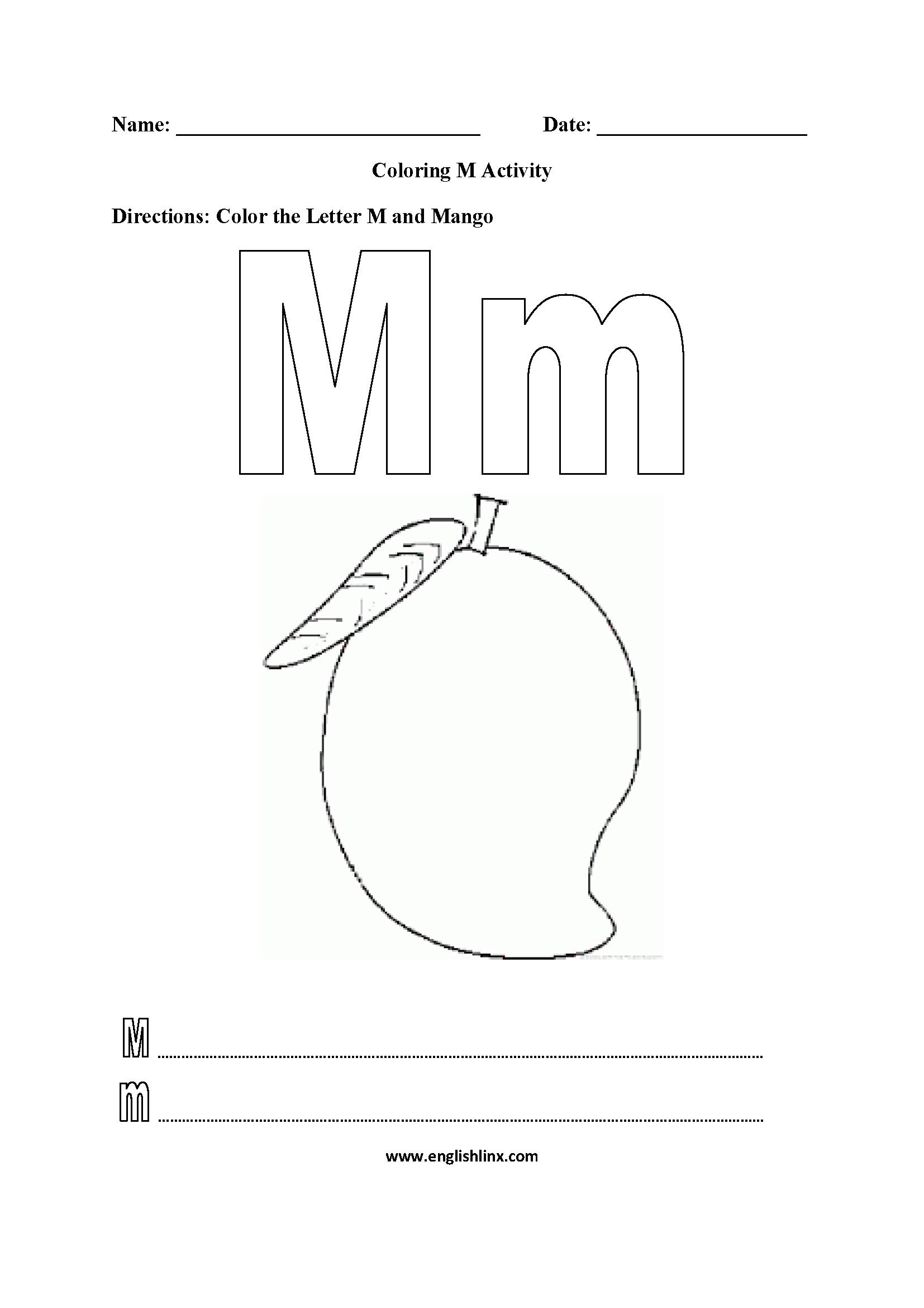 Coloring M Worksheet
