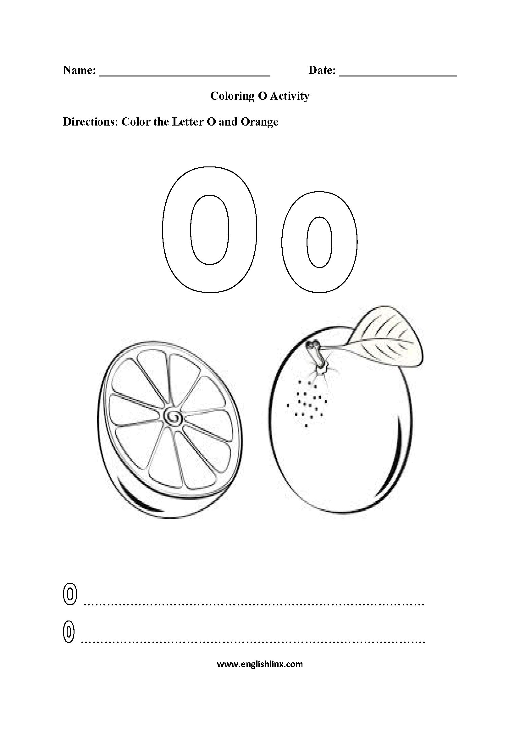 Letter O Alphabet Coloring Pages Worksheets