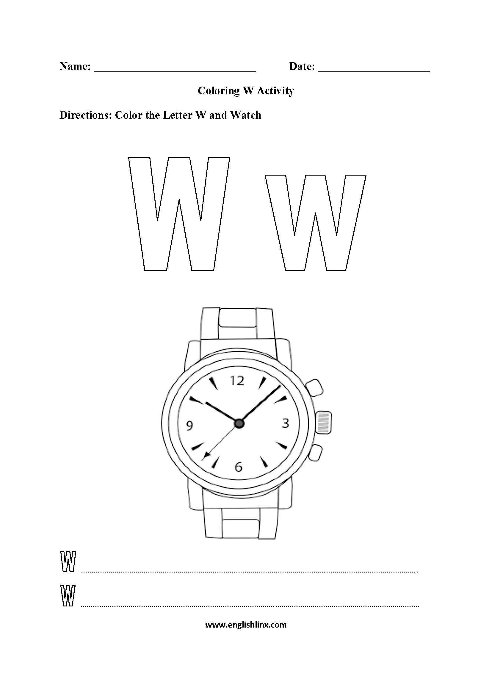 Letter W Alphabet Coloring Pages Worksheets