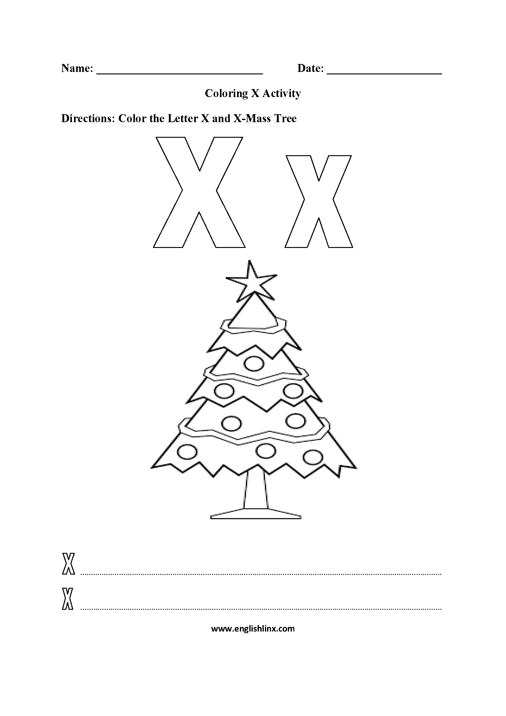 Letter X Alphabet Coloring Pages Worksheets