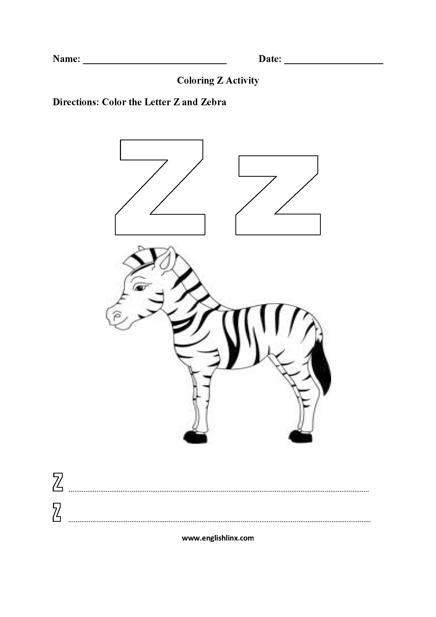 Coloring Z Worksheet