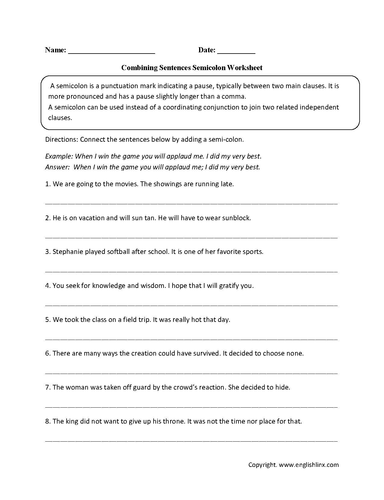 Combining sentences worksheet with answers
