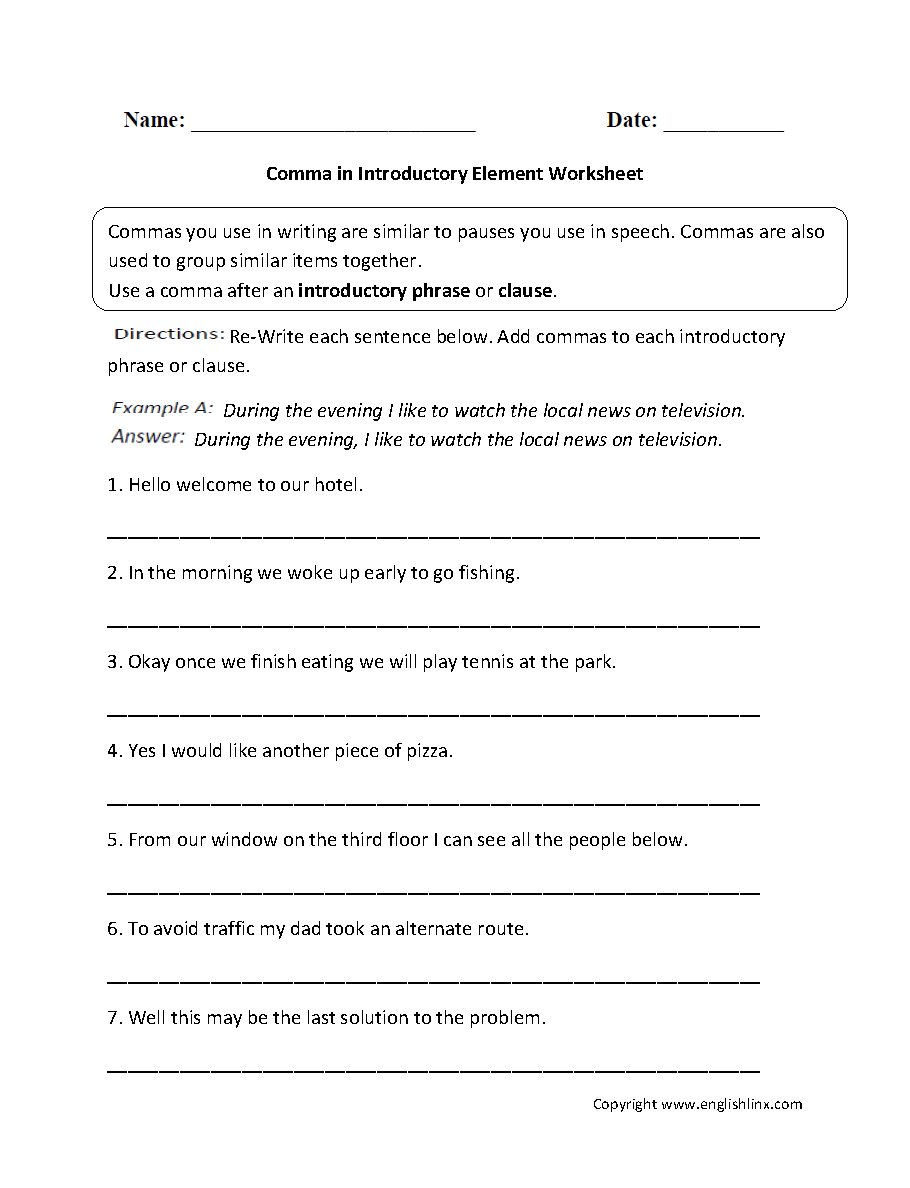 worksheet Comma Usage Worksheet punctuation worksheets comma introductory element worksheets