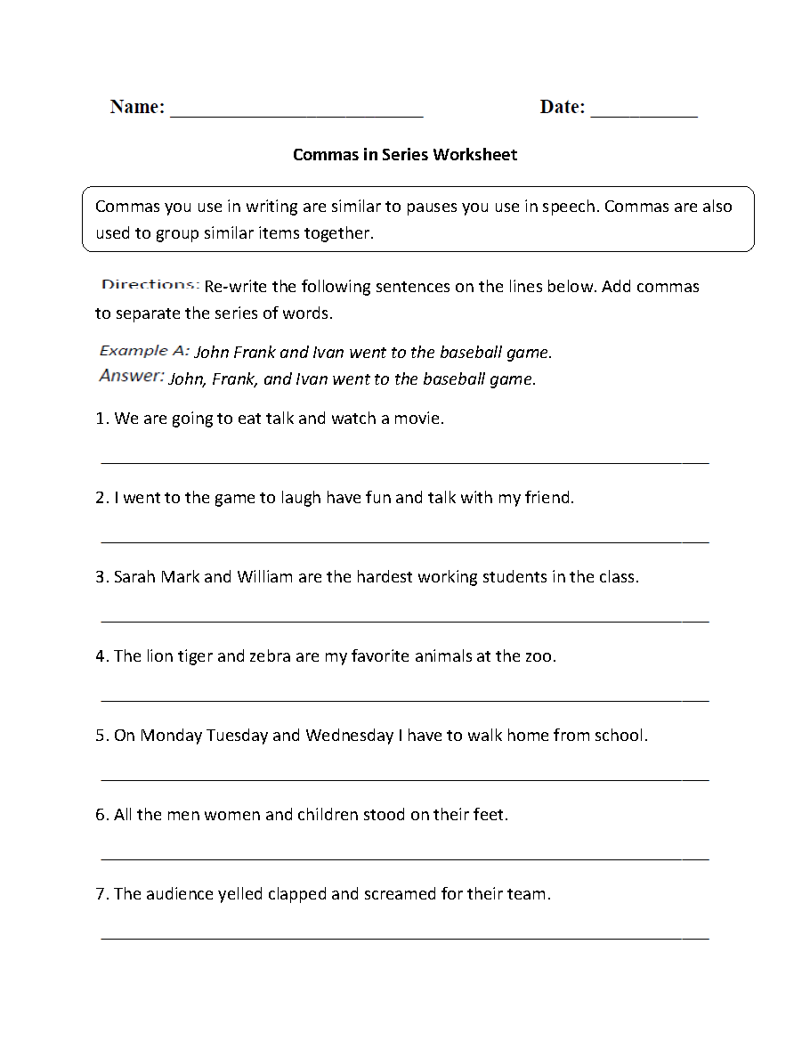 Worksheets Comma Practice Worksheets punctuation worksheets comma in series worksheets
