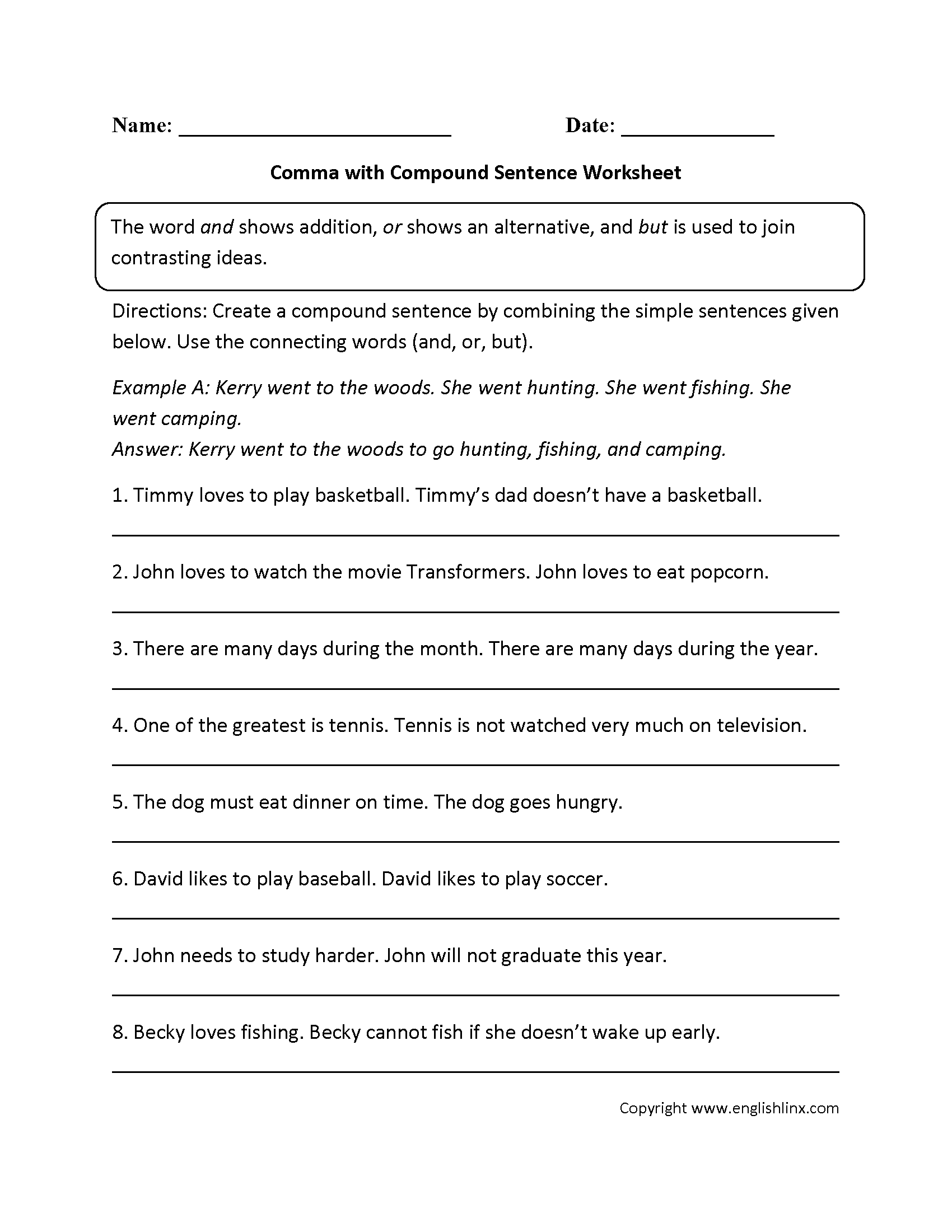 Punctuation Worksheets | Comma Worksheets