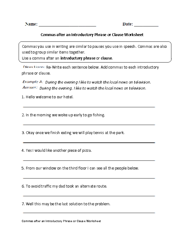 Commas after Introductory Phrase or Clause Worksheet