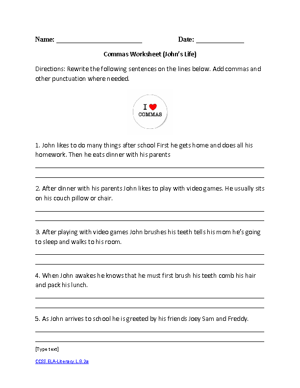 English Worksheets | 8th Grade Common Core Worksheets