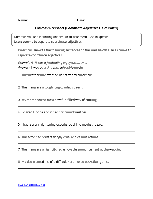7th Grade Common Core Worksheets