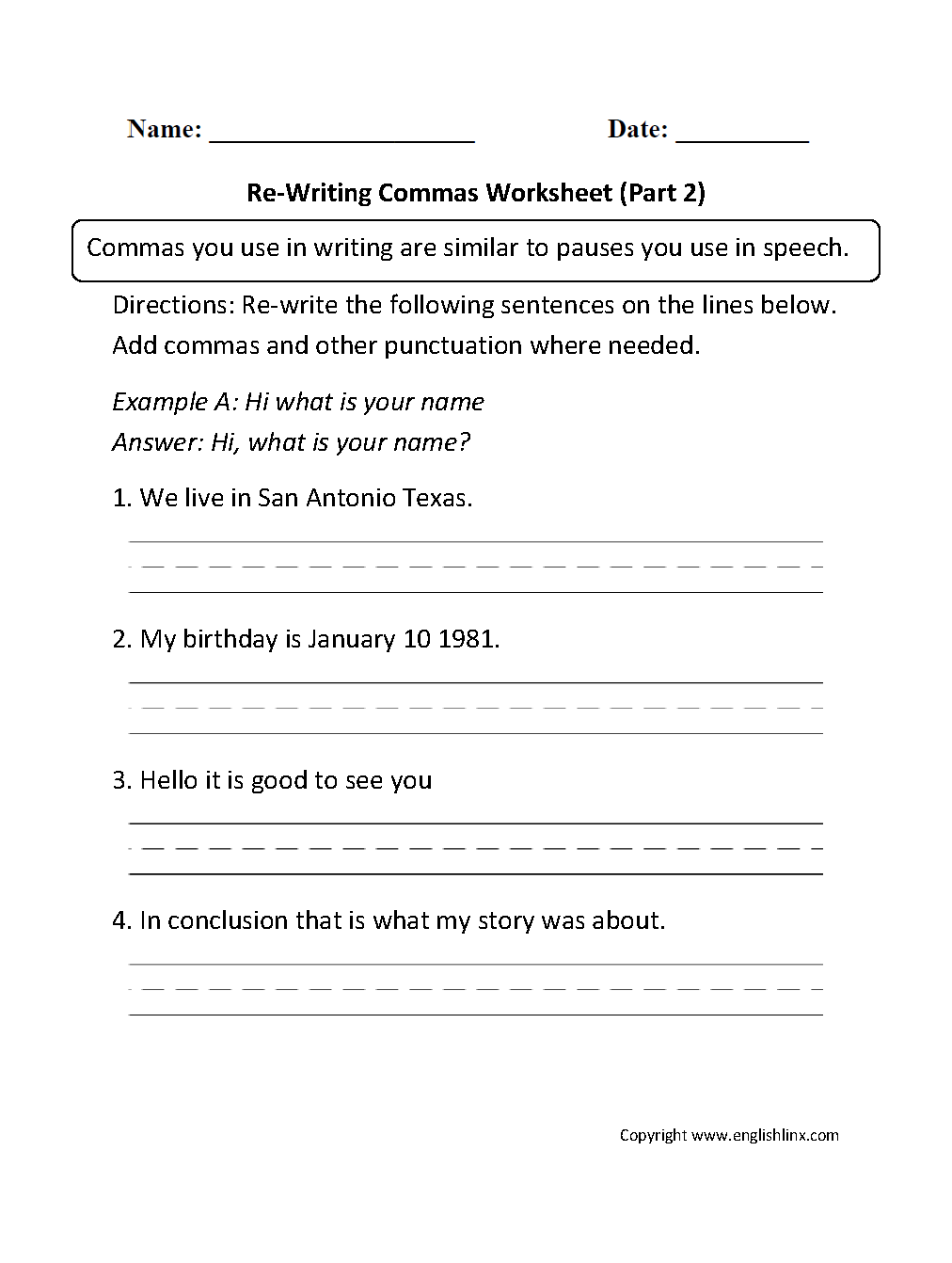 Comma practice worksheet answers
