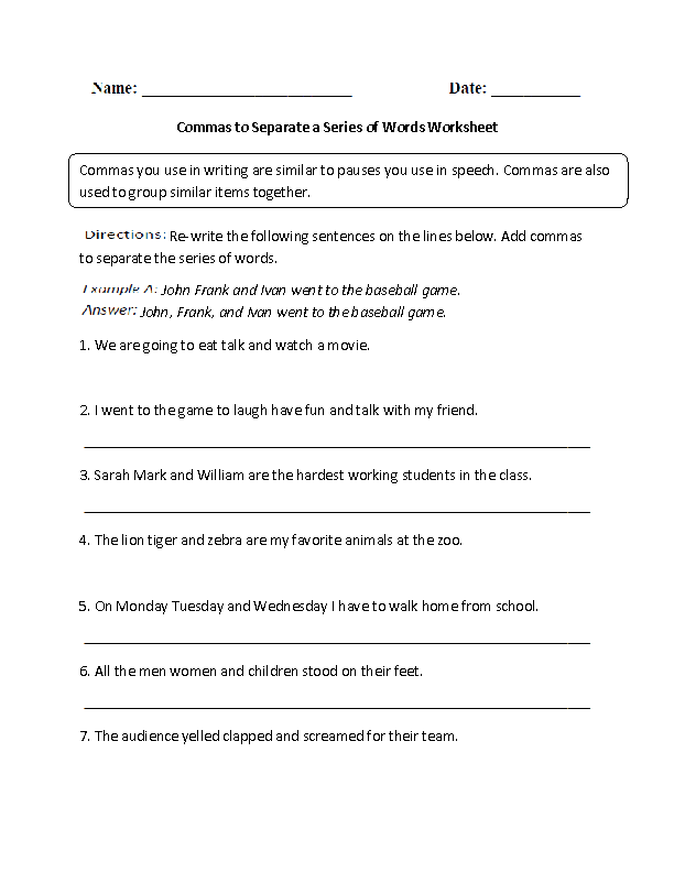 Commas to Separate a Series of Words Worksheet