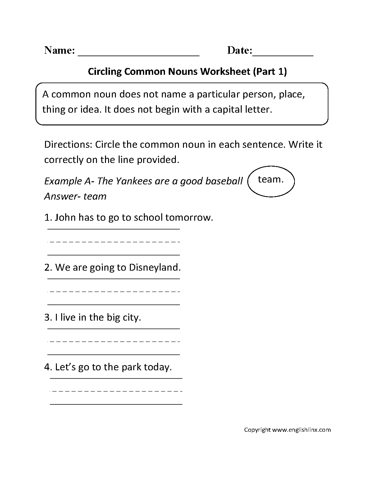 worksheet Noun Worksheets 4th Grade nouns worksheets proper and common worksheet part 1