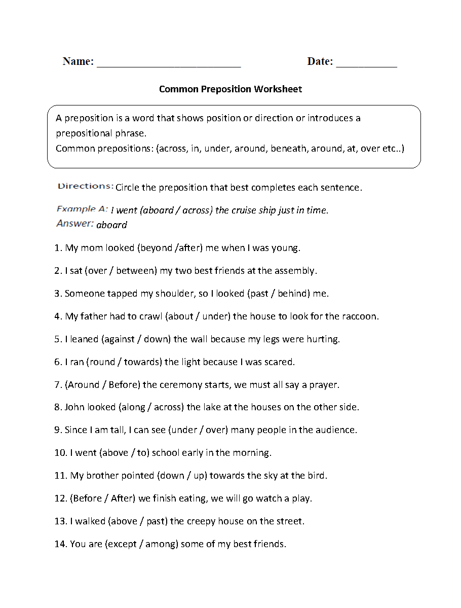 Worksheet Prepositions Worksheets For Grade 5 3rd grade grammar worksheets prepositions math worksheet parts speech preposition prepositions