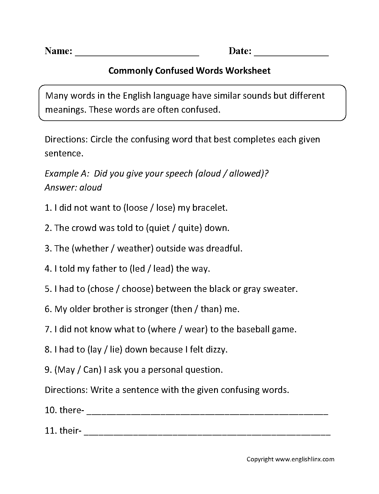 Beginner Commonly Confused Words Worksheets
