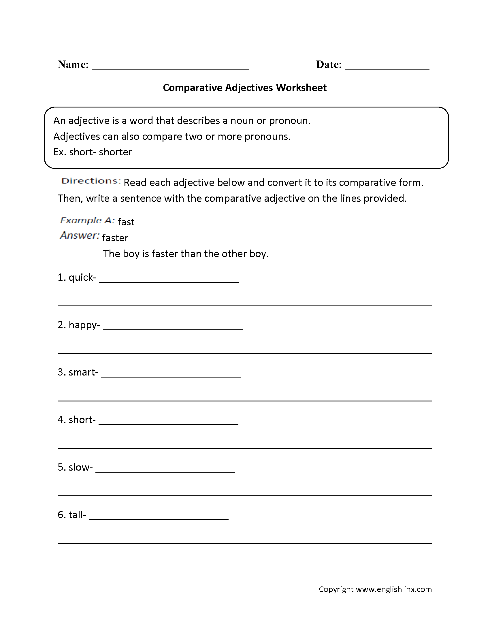 Parts Speech Worksheets – Comparative Adjectives Worksheets