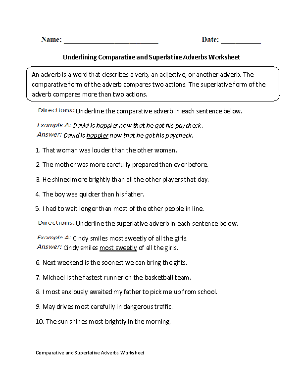 Adverbs Worksheets Comparative And Superlative Adverbs Worksheets