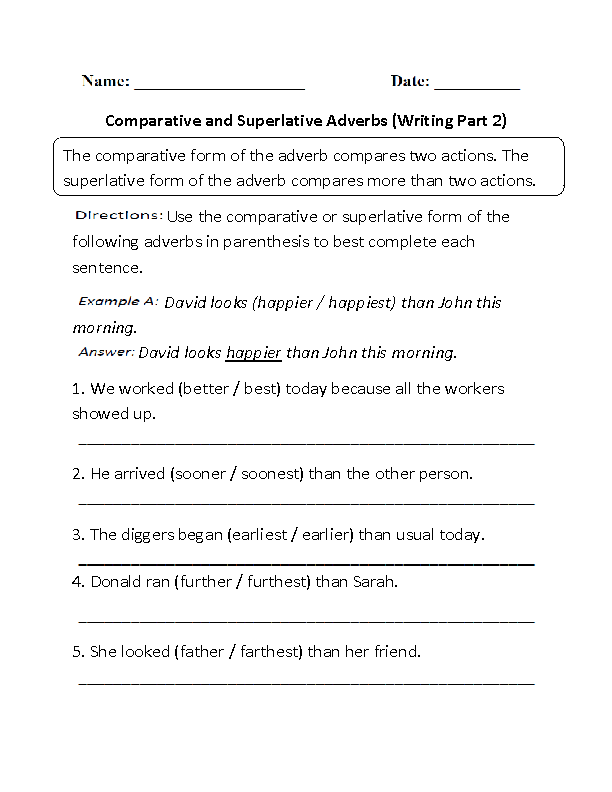 Comparative And Superlative Adverb Worksheets #1 | language ...