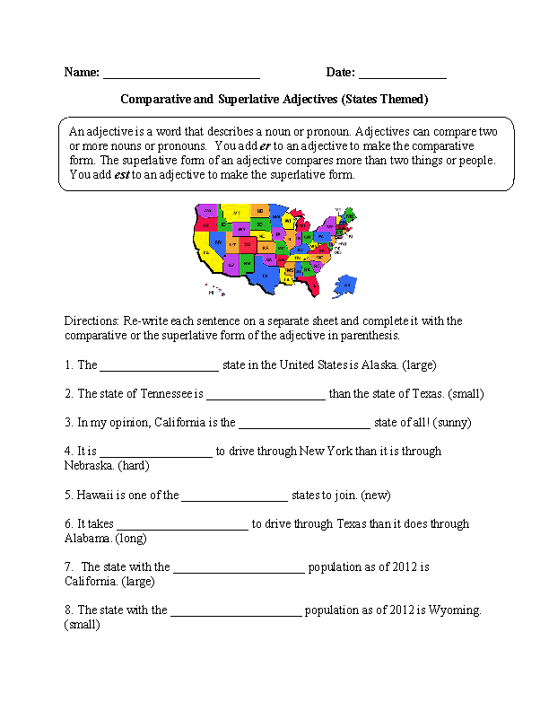 Comparative and Superlative Adjectives Worksheets | States ...