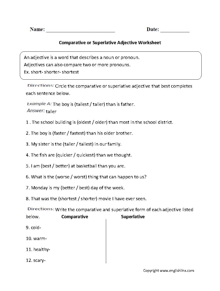 Parts Speech Worksheets | Adjective Worksheets