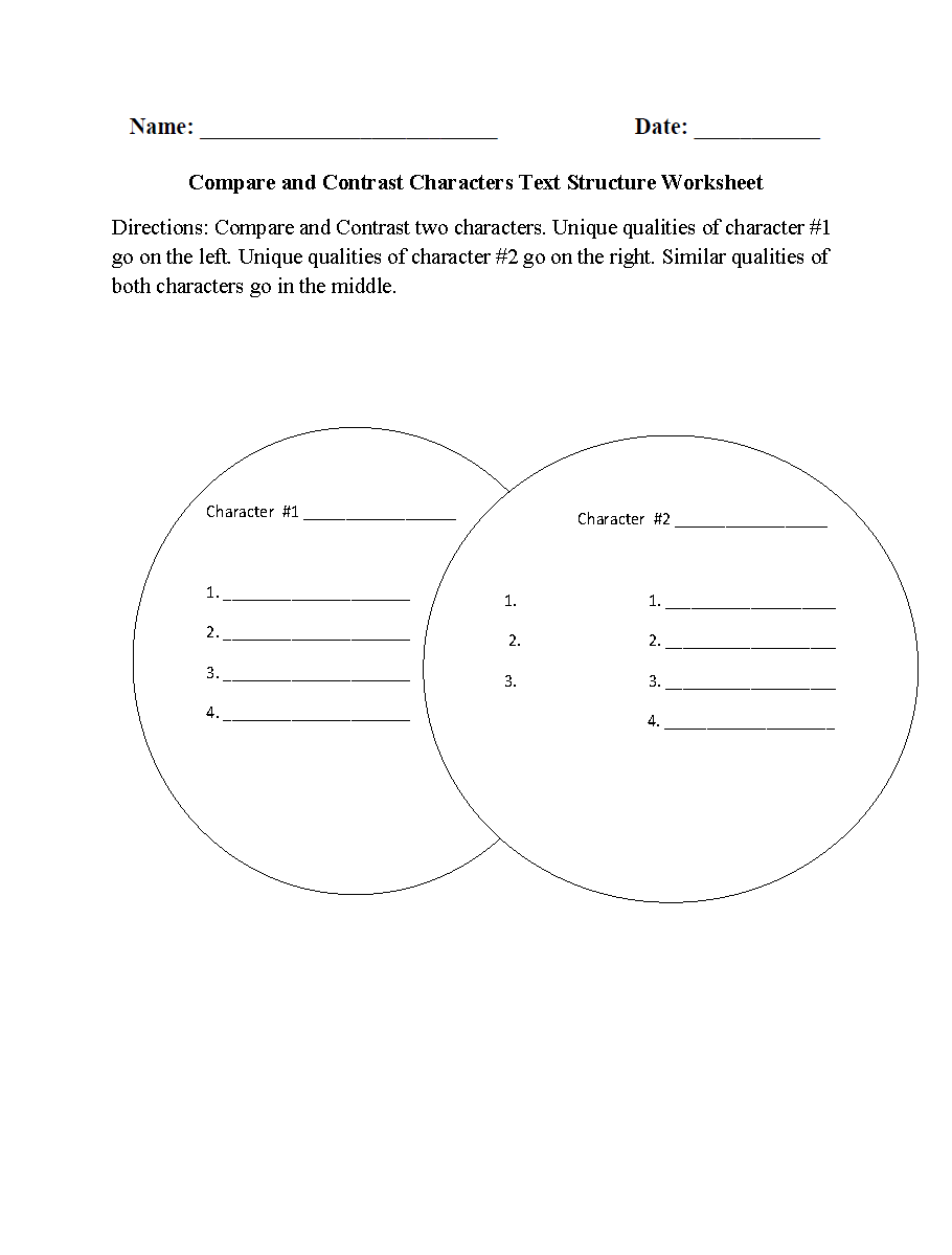 worksheet Compare And Contrast Worksheets 4th Grade englishlinx com text structure worksheets compare and contrast characters worksheets