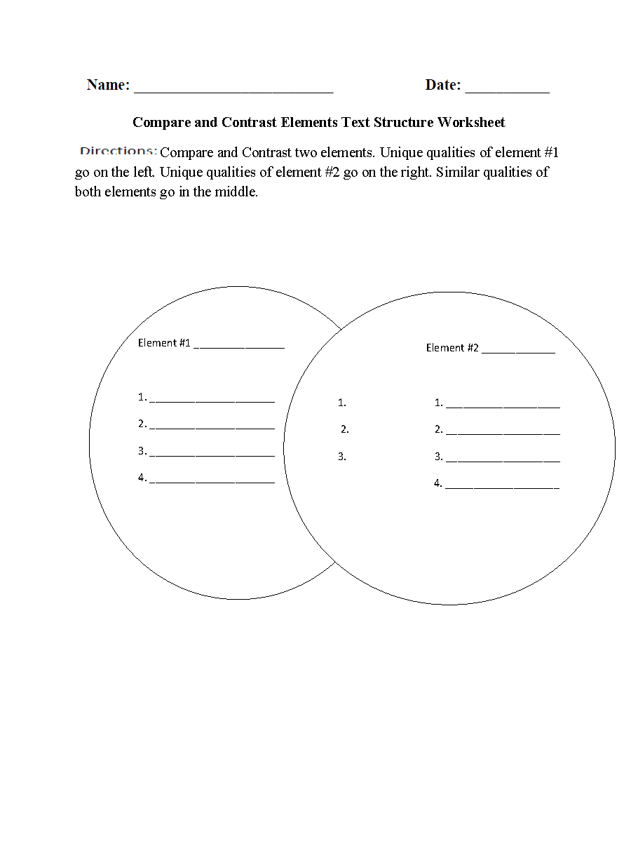 worksheet Compare And Contrast Worksheets 4th Grade englishlinx com text structure worksheets compare and contrast elements worksheets