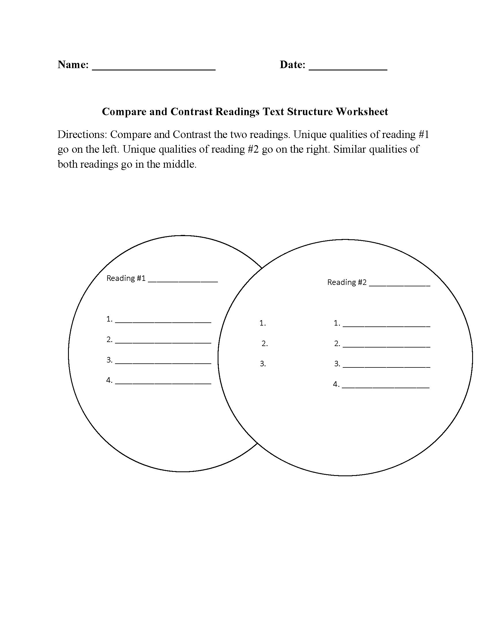 Text Structure Worksheets Compare And Contrast Readings Text